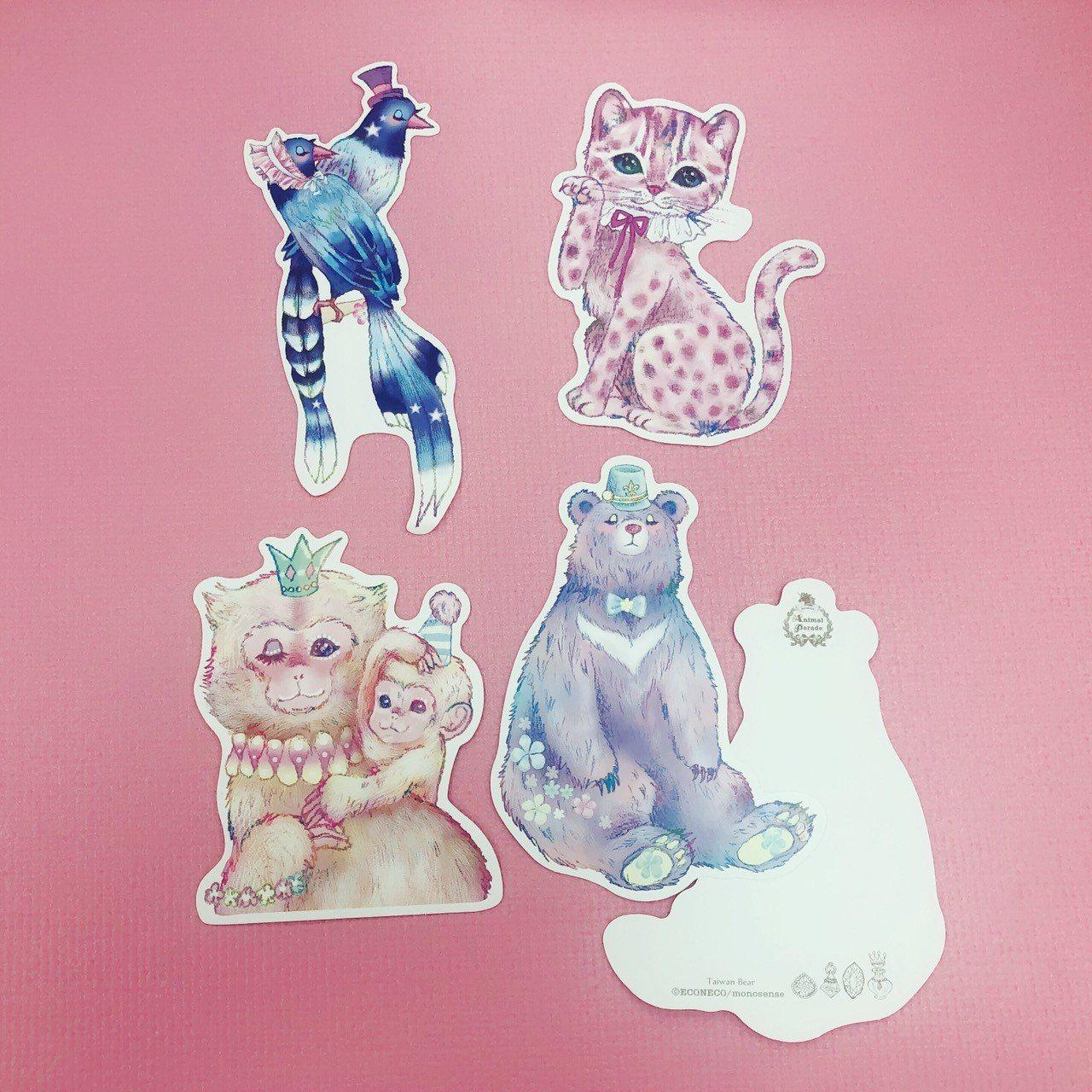 繪子貓設計的ECONECO台灣限定角色明信片,將台灣黑熊、石虎、台灣藍鵲、台灣獼...