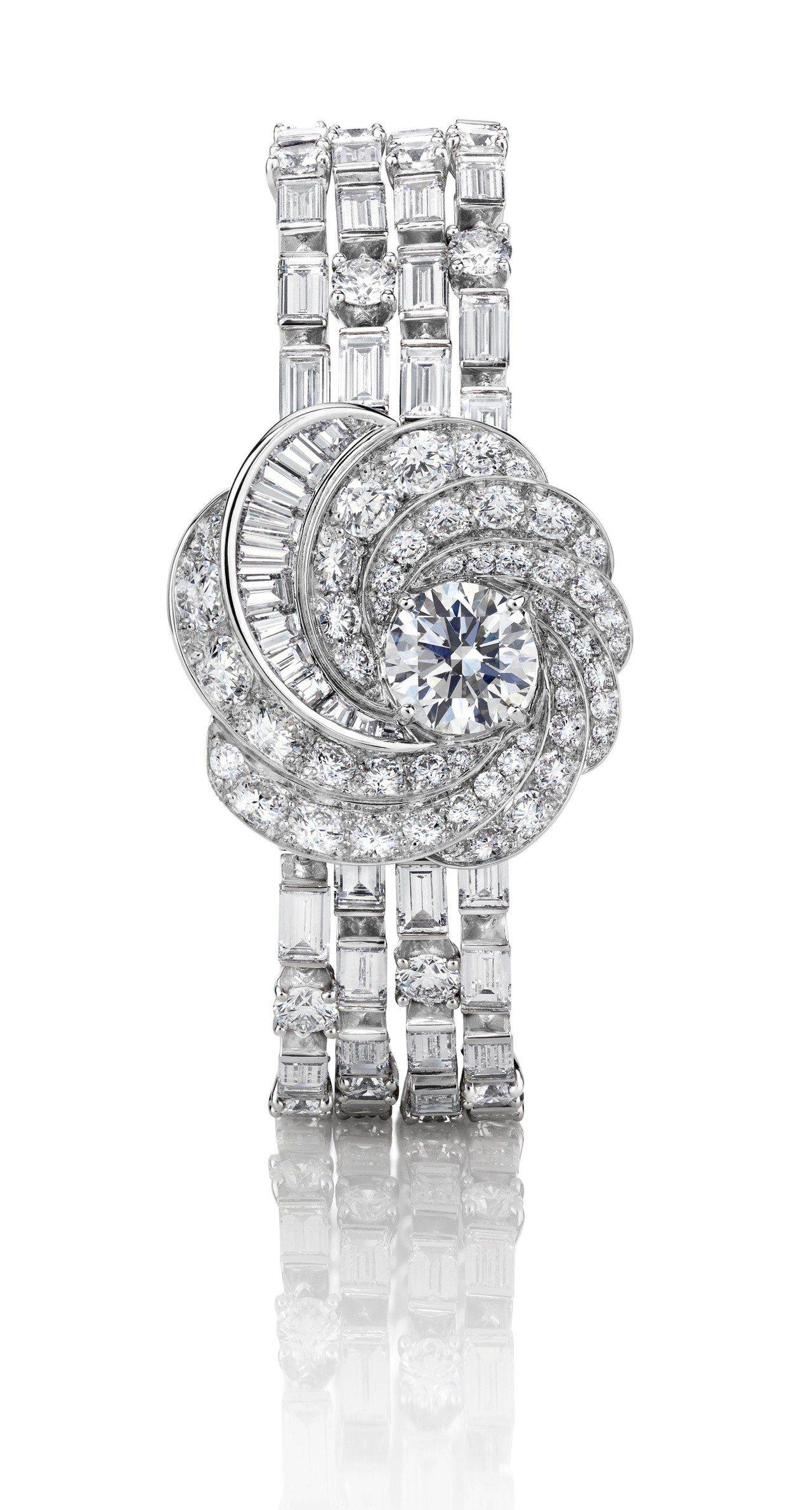 吳可熙配戴De Beers Aria 高級珠寶鑽石手環,價格店洽。圖/De Be...