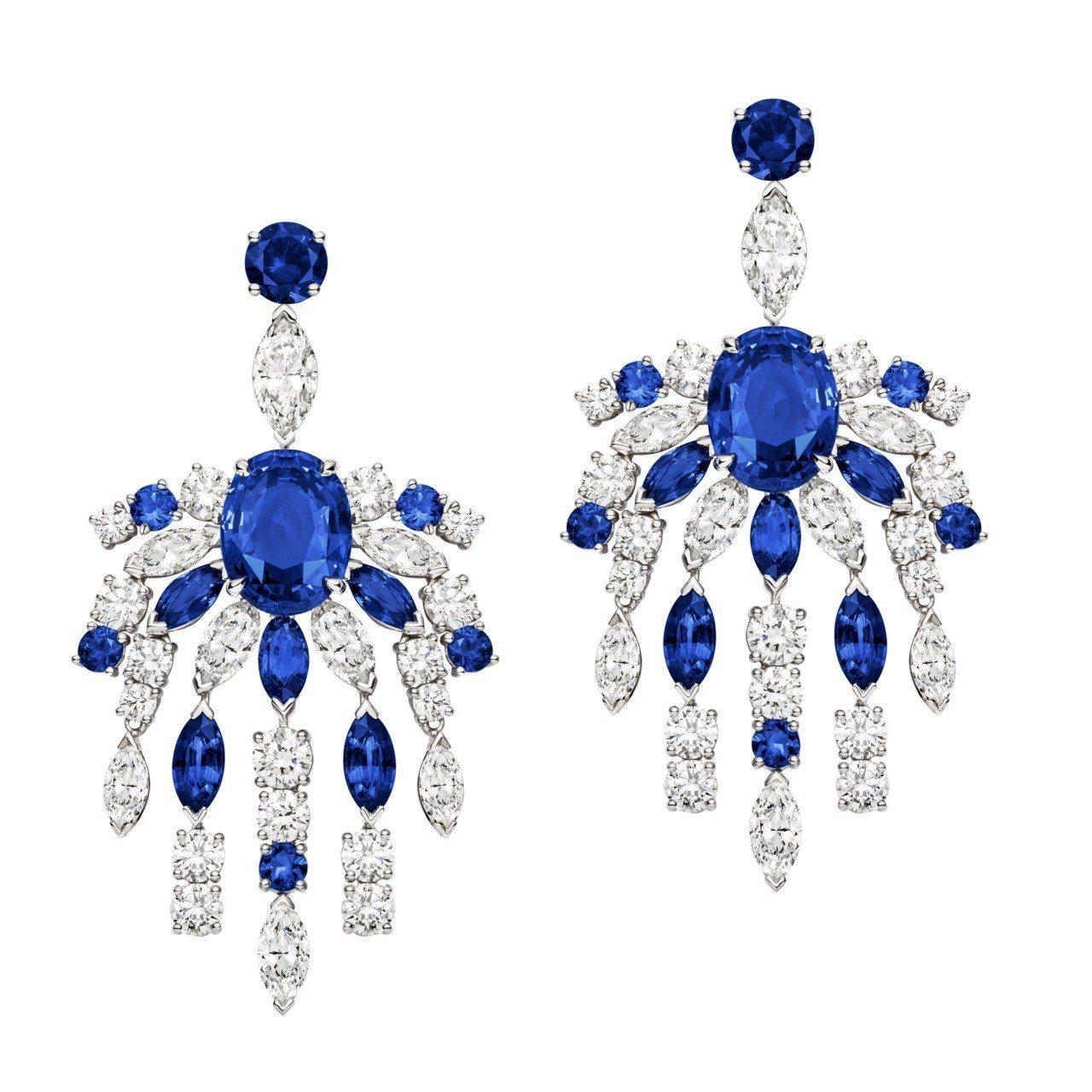 張榕容配戴PIAGET Extremely Piaget高級珠寶藍寶石鑲鑽耳環,...