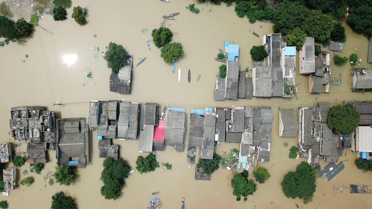湖南湘潭,洪鋒過境。取自新華網