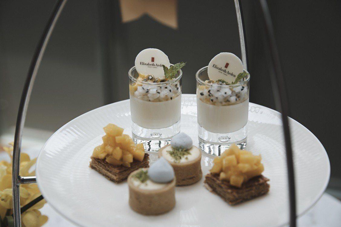雅頓X山蘭居聯名下午茶,可看到橘色艾地苯為靈感。圖/雅頓提供