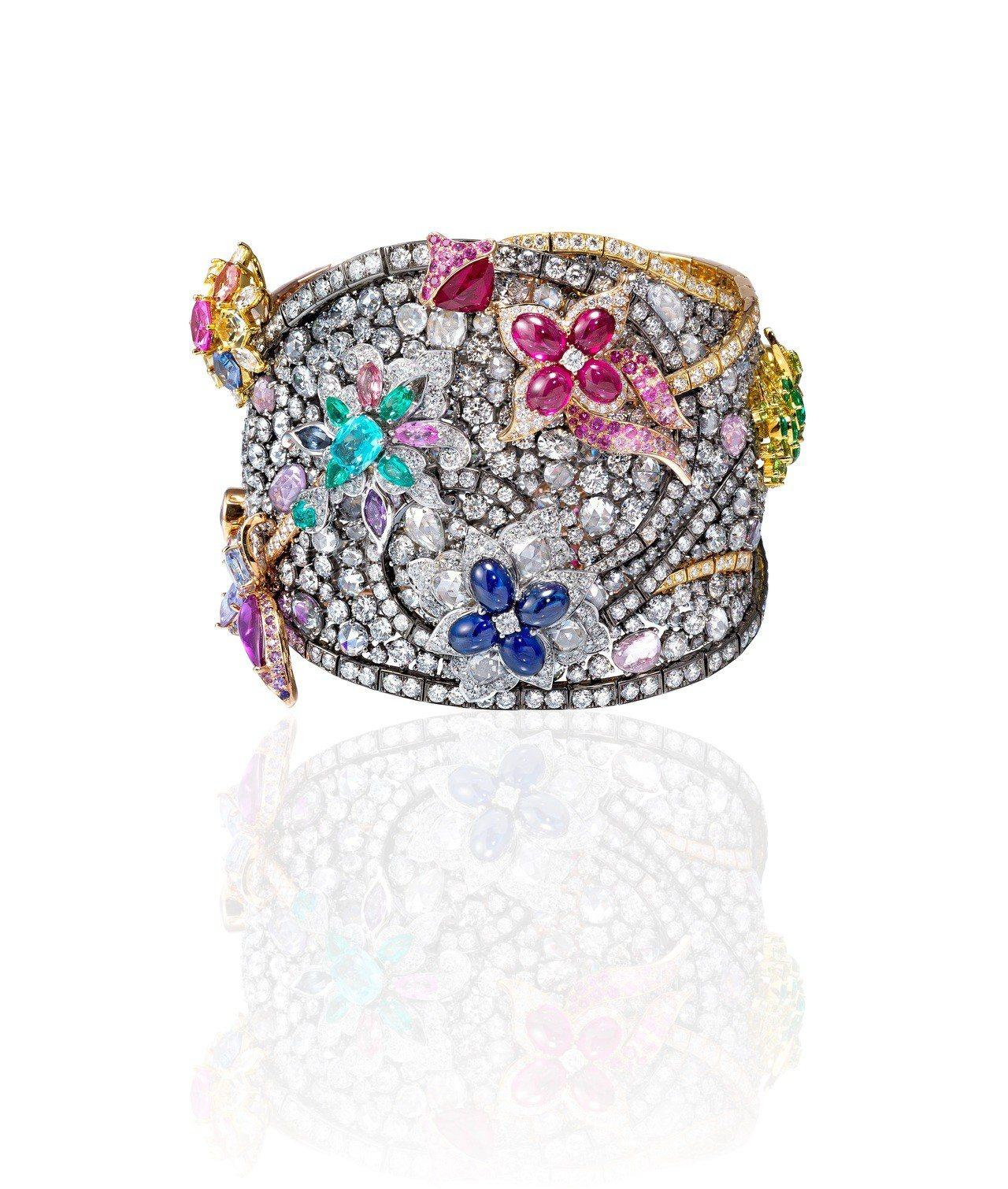 Anna Hu聖巴西爾音樂手環,以黃鑽、帕拉伊巴碧璽、翠榴石、彩色剛玉、鉻碧璽、...