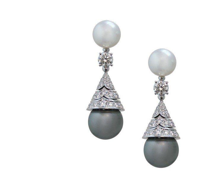 寶格麗頂級大溪地與南海珍珠鑽石耳環,白K金耳環,鑲嵌2顆大溪地珍珠、2顆南海珍珠...