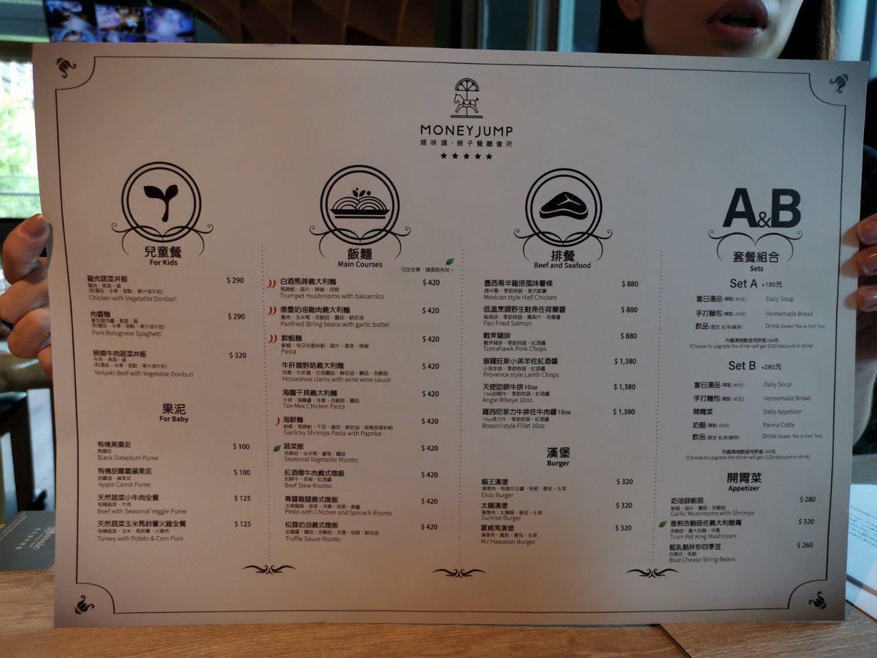MONEYJUMP的菜單,非排餐的餐點價位在三、四百元之間,以餐廳內強大的設施來...