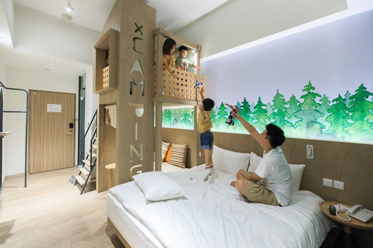 雲朗集團進駐礁溪的新飯店品文旅「樹屋」閣樓房,小孩好像住在樹上,很有安全感。圖/...