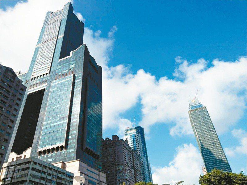高雄市新光路上有兩幢超過50層樓高的建築,左側是85大樓,右側是興建中的遠雄建設新建案「THE ONE」。 記者謝梅芬/攝影