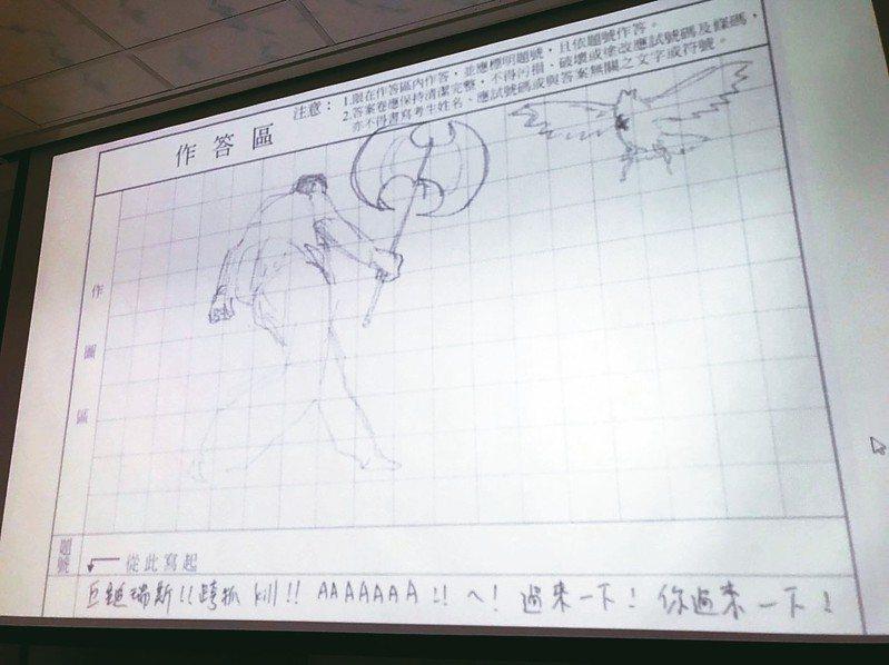 大考中心公布指考違規試卷,有考生在試卷上畫遊戲英雄聯盟的一個角色巨鎚瑞斯。 記者馮靖惠/攝影
