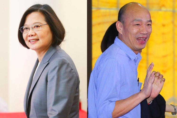 高雄市長韓國瑜(右)代表國民黨參選2020,對決現任總統蔡英文。 圖/聯合報系資料照片