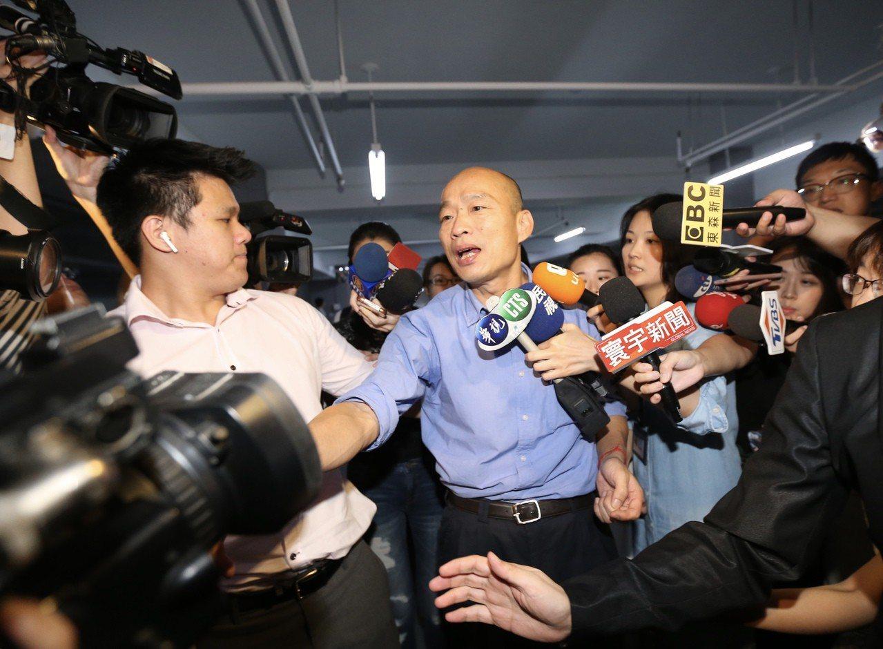 韓國瑜(中)贏得國民黨內總統初選。 聯合報記者許正宏/攝影