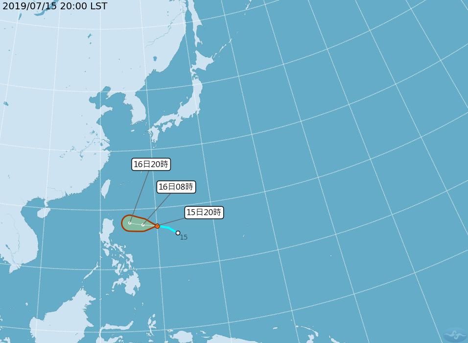 中央氣象局預測,菲律賓東方海面的熱帶性低氣壓,最快明(16日)天凌晨形成今年第5...