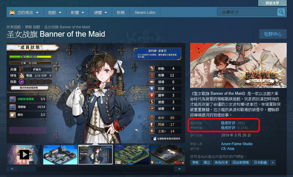 《聖女戰旗》在 Steam 上獲得玩家們的一致好評,其販售價格也相當便宜。