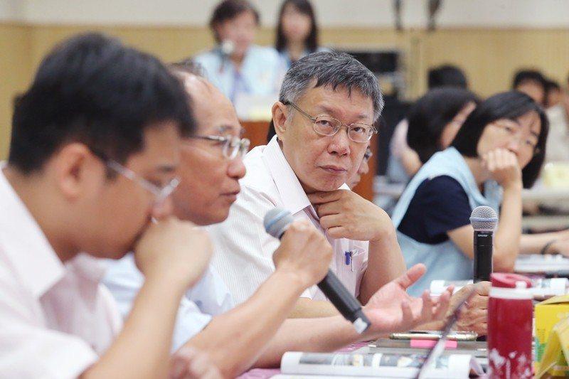 台北市都委會於本月11日通過大彎北段商業區使用許可方案。圖為台北市長柯文哲。 圖...