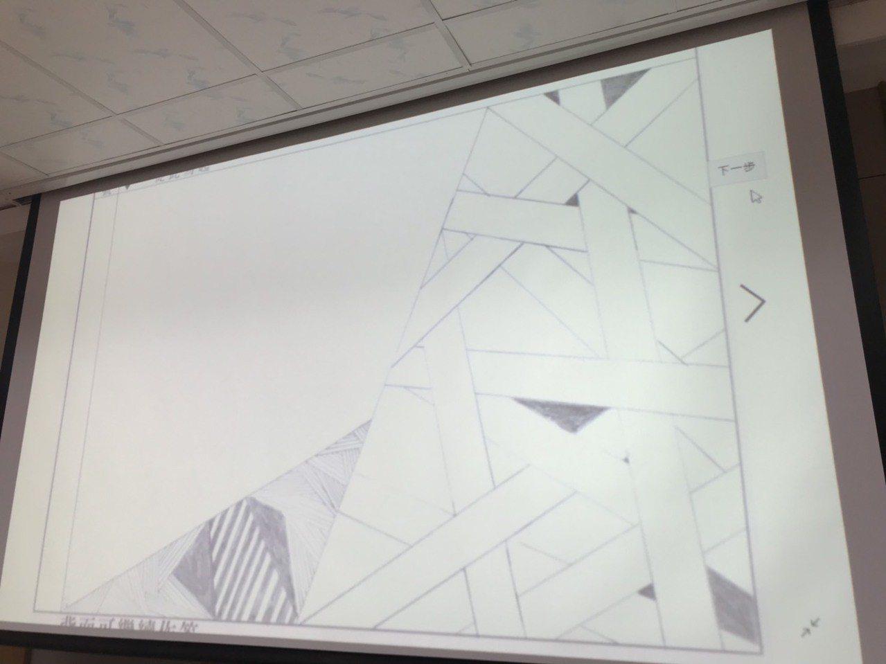 有考生在試卷上塗鴉抽象畫。記者馮靖惠/攝影