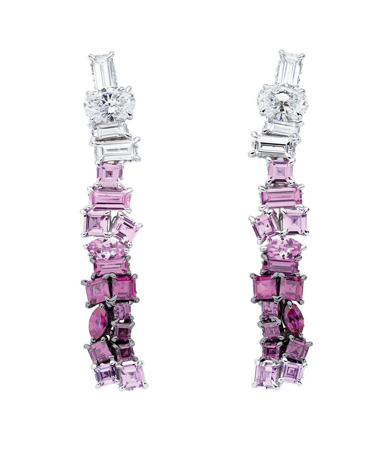 Dior Gem Dior系列粉紅糖衣剛玉耳環,約1,010萬元。圖/Dior系...