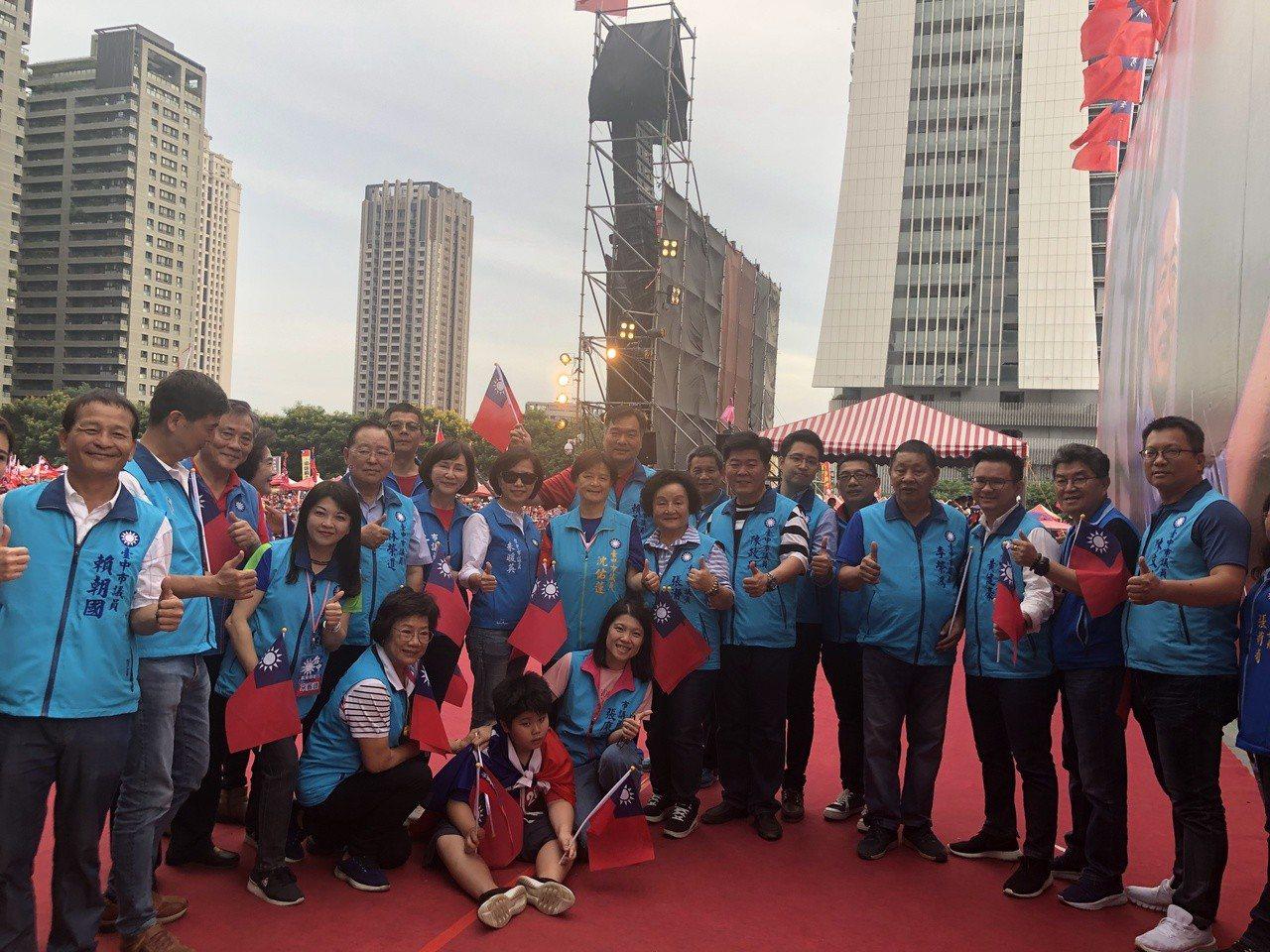 台中市議會國民黨團參加韓國瑜造勢活動。 圖/聯合報系資料照片