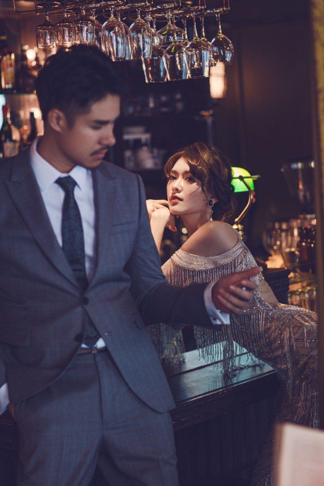 劉宜函跟老公拍出唯美婚紗照。圖/wedding21韓式婚紗提供