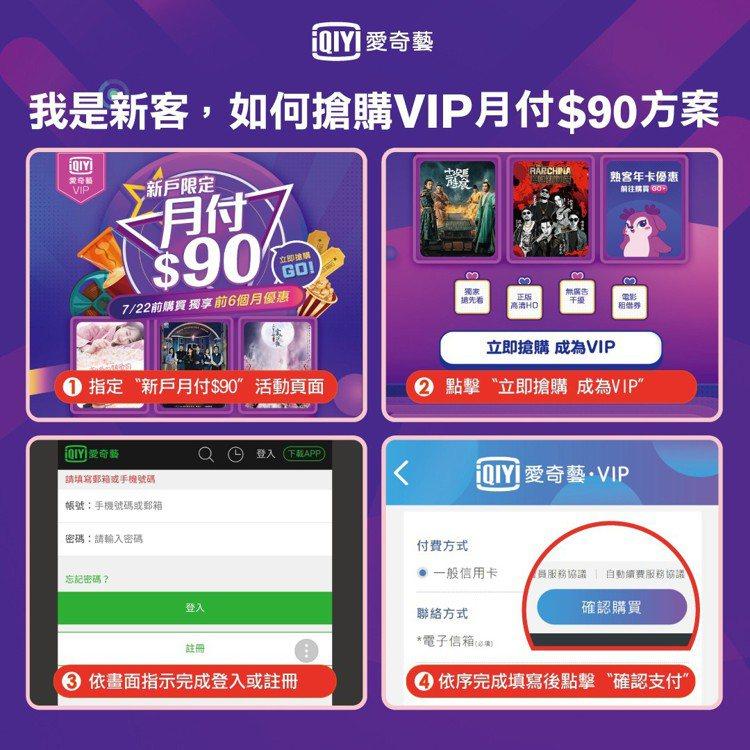 愛奇藝台灣站新用戶購買教學這樣做。圖/歐銻銻娛樂提供