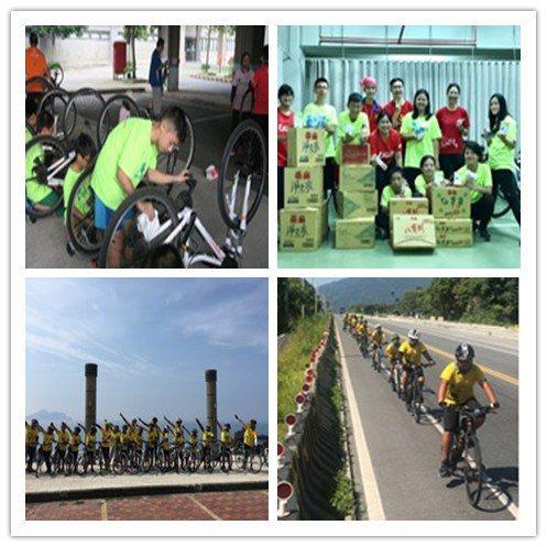 每位小騎士皆要學會保養自己的單車(左上)、孩子們開心的與企業贊助物資合影(右上)...