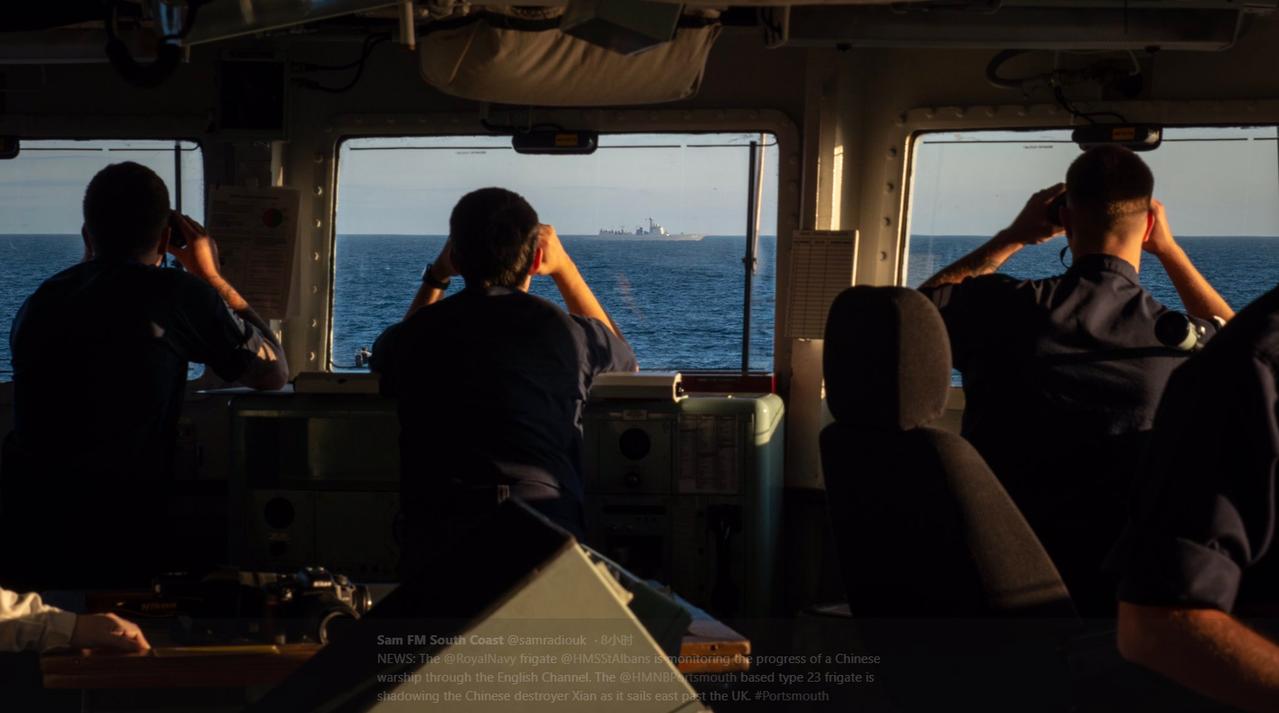 英皇家海軍23型護衛艦在英吉利海峽跟中國海軍西安艦 (取材自觀察者網)