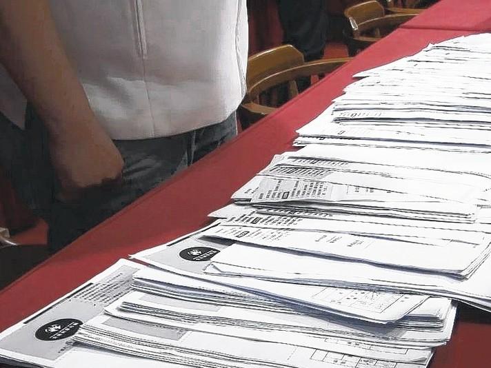 高雄市長韓國瑜昨天在國民黨初選民調中勝出,部分高市民進黨議員出示收到的罷韓連署書...