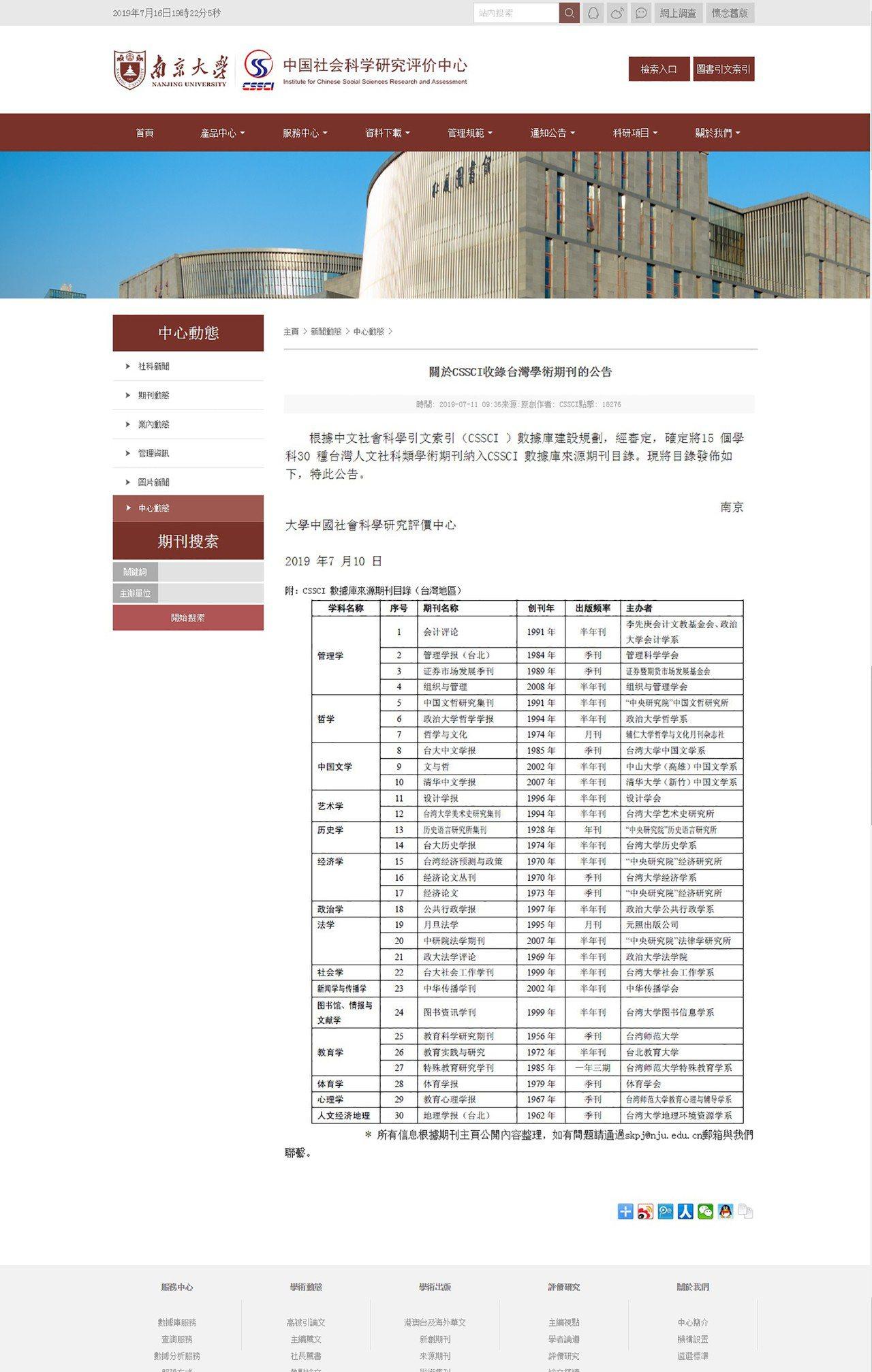 中國權威學術期刊目錄「中文社會科學引文索引」(CSSCI),宣布納入15個學科、...