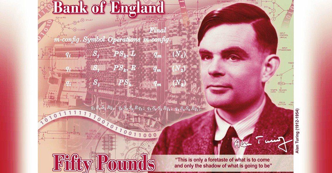英格蘭銀行15日公布了新一代的「50 英鎊塑膠鈔票」,設計主題人物為二戰期間破解...