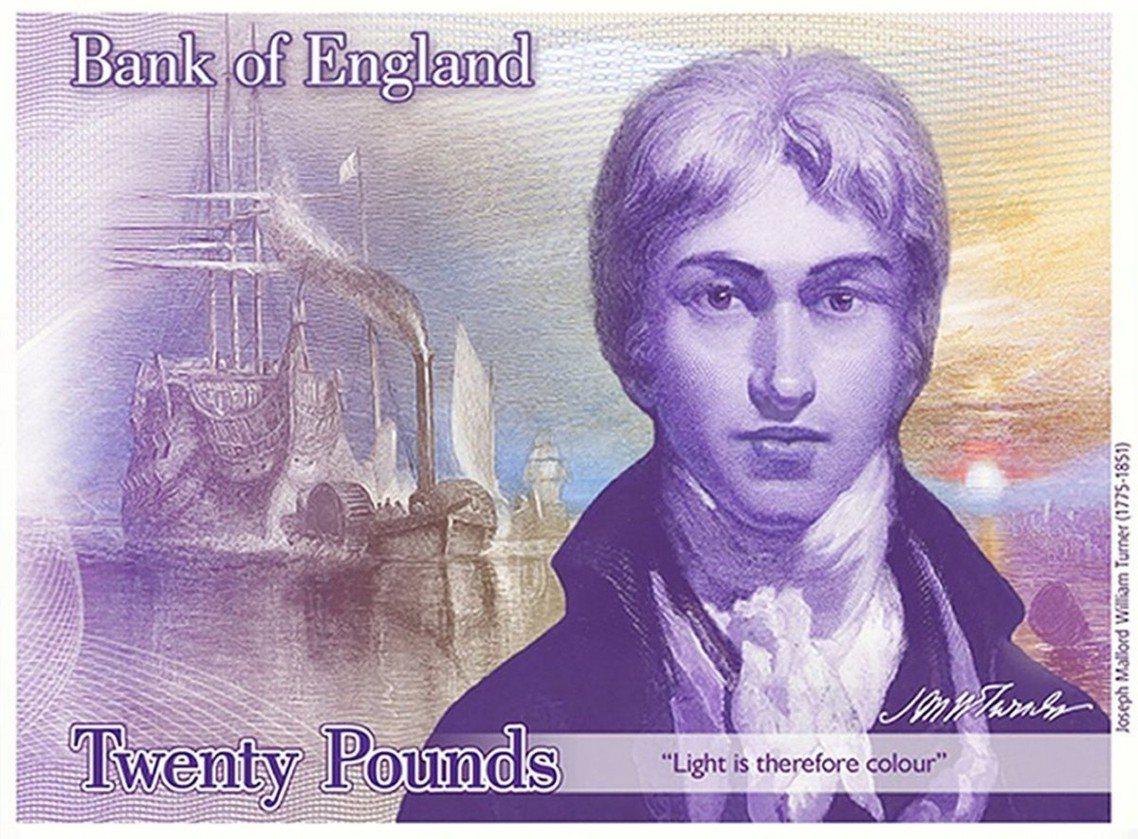 20鎊的威廉.特納設計樣版:預計2020年發行。 圖/英格蘭銀行