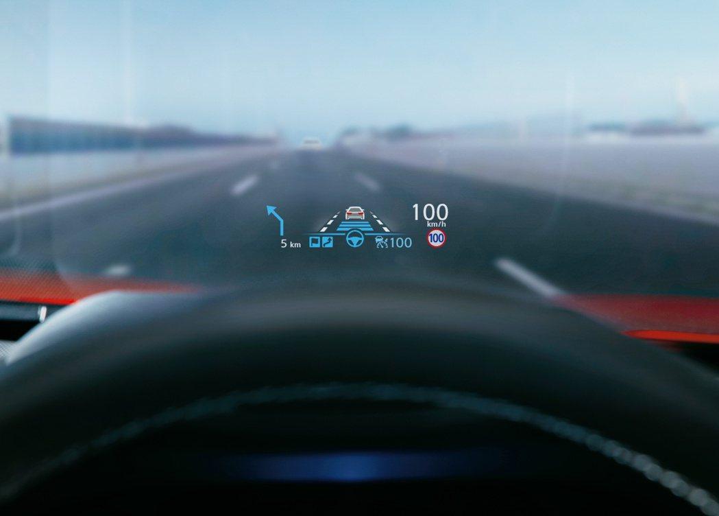 Hybrid車型還標配全彩色抬頭顯示器HUD。 摘自Nissan