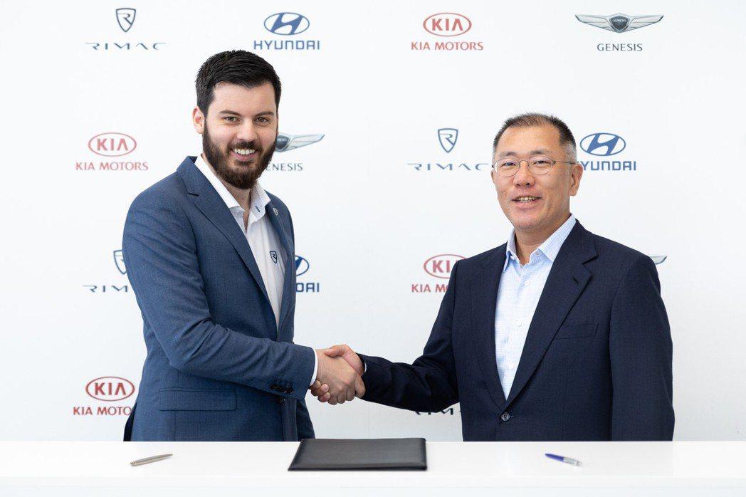 Hyundai-Kia集團與電動超跑製造商Rimac簽署合作契約。 摘自Hyun...