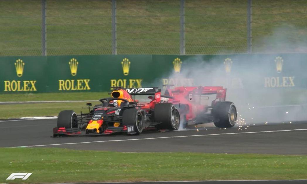 Vettel誤判煞車時機直直的撞上Verstappen車尾。 摘自F1