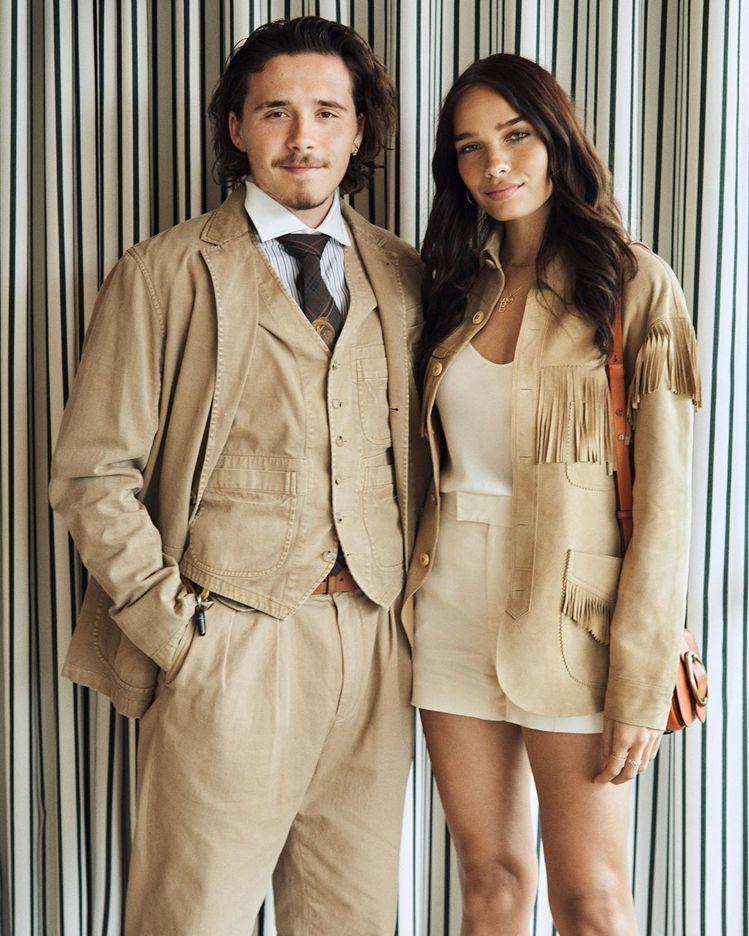 貝克漢的大兒子布魯克林貝克漢(Brooklyn Beckham)與他的模特兒女友...