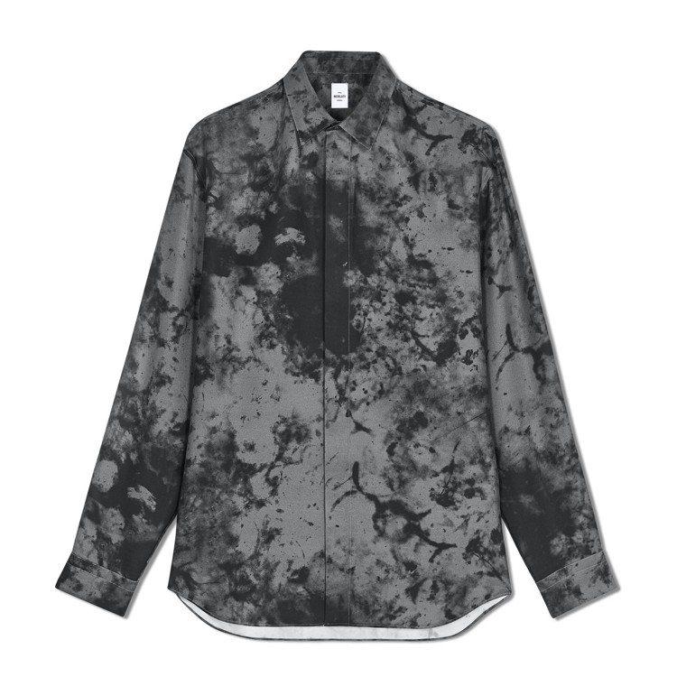 Berluti冬季系列大理石紋灰色真絲襯衫,34,500元。圖/Berluti提...
