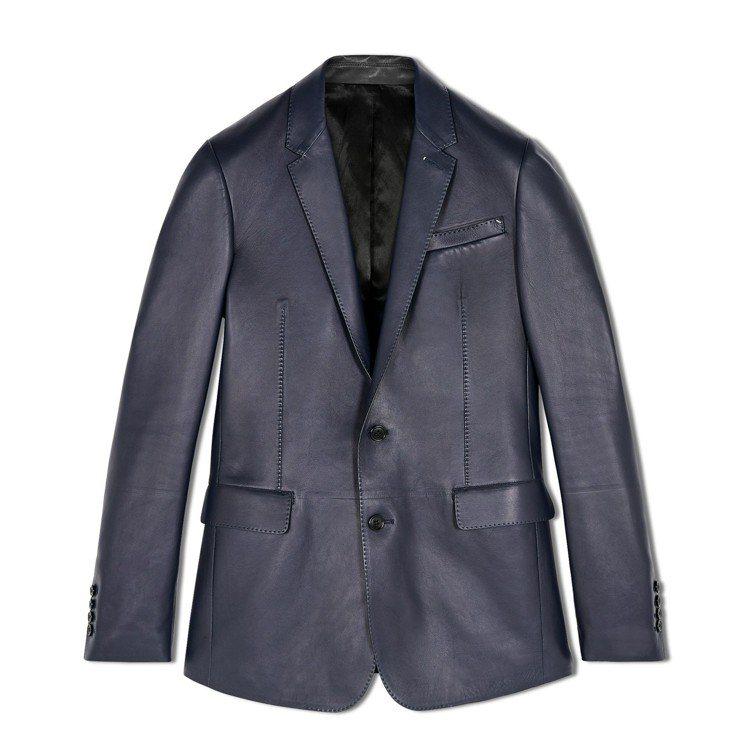 Berluti冬季系列小羊皮灰藍色西裝外套,21萬1,000元。圖/Berlut...