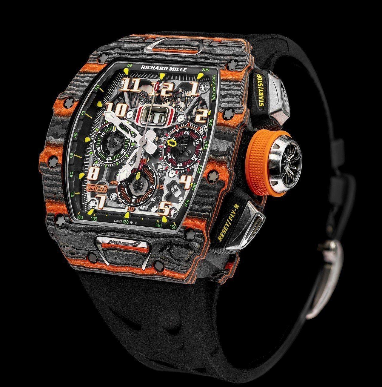 小奧德爾貝克漢配戴RM 11-03 McLaren自動飛返計時碼表,搭載RMAC...