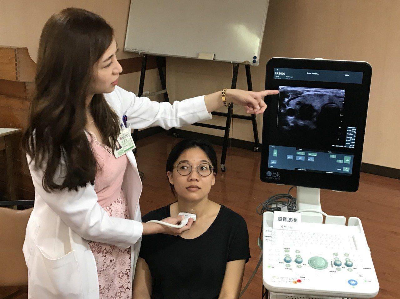 馬偕醫院一般外科醫師郭其毓(左)表示,甲狀腺是人體內分泌器官之一,最常見就是甲狀...