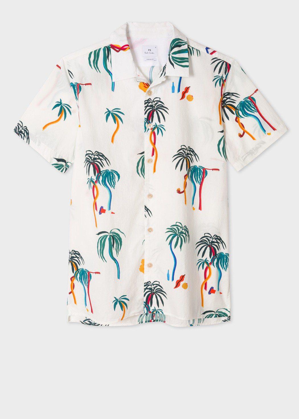 彩色棕櫚樹短袖襯衫,原價7,300元,特價3,650元。圖/Paul Smith...