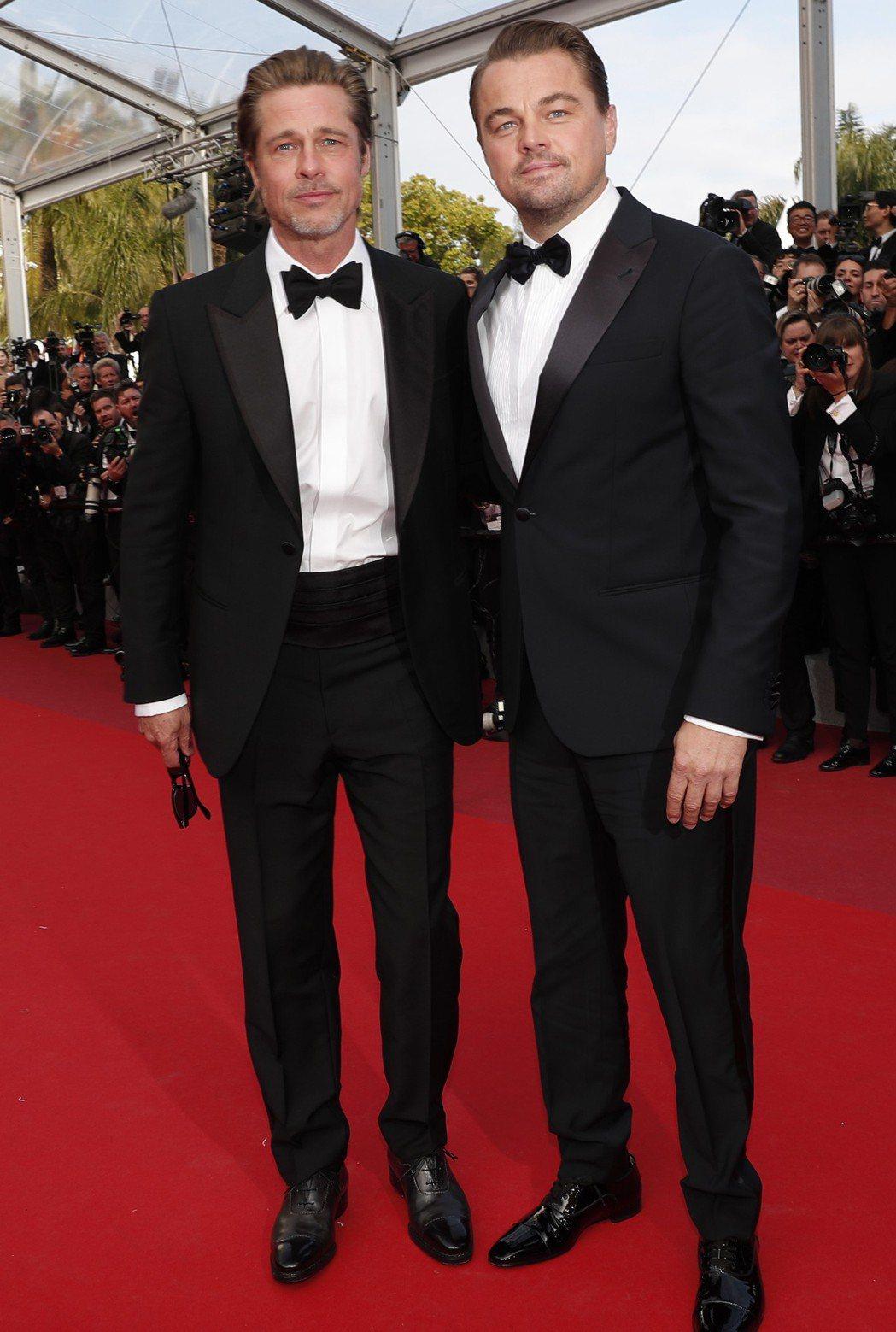 布萊德彼特與李奧納多狄卡皮歐之前現身坎城影展就一副哥倆好的感覺。圖/歐新社資料照...