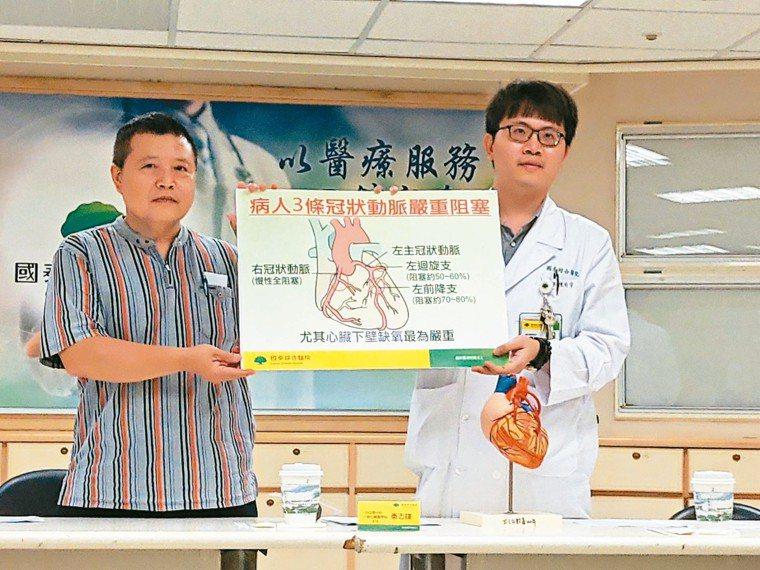 國泰醫院心血管中心醫師陳玠宇(右)及患者陳先生,手持「病人3條冠狀動脈嚴重阻塞」...