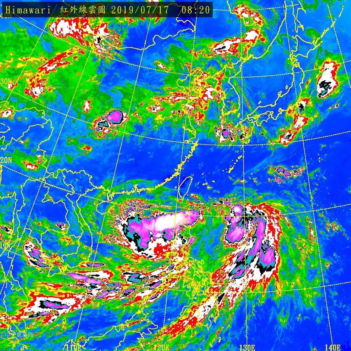 丹娜絲颱風動態。 圖擷自天氣與氣候監測網