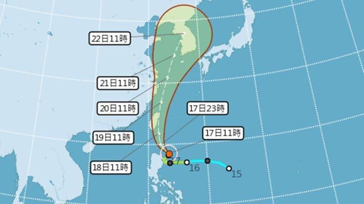 輕度颱風丹娜絲路徑潛勢圖。圖/取自氣象局網站