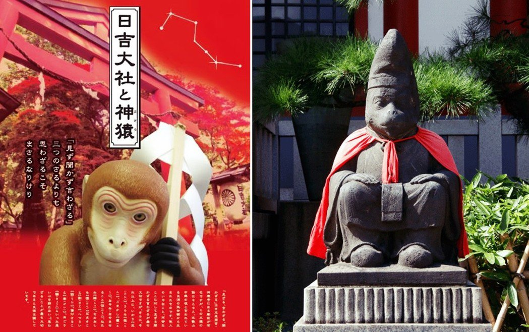 日本也很有名的神使,就是日吉大社的猴子(左),右為山王日枝神社的猴子神使像。猴子...