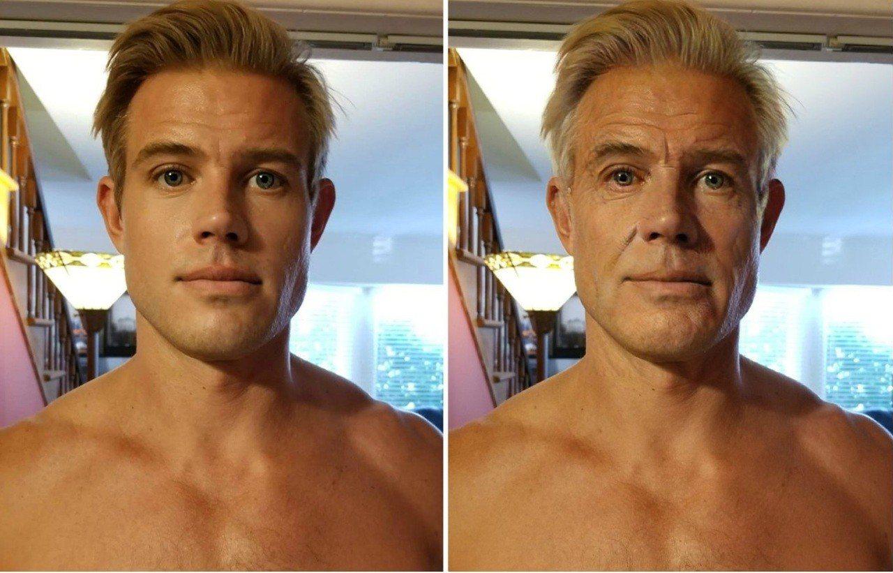 網友發起全新的變臉挑戰,透過軟體「變老」。圖擷自/twitter