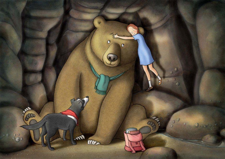 熊獨自在洞穴裡,或許也只是想找人(熊)陪伴,而不是要把孩子吃掉?奧森柏莉這樣想著...