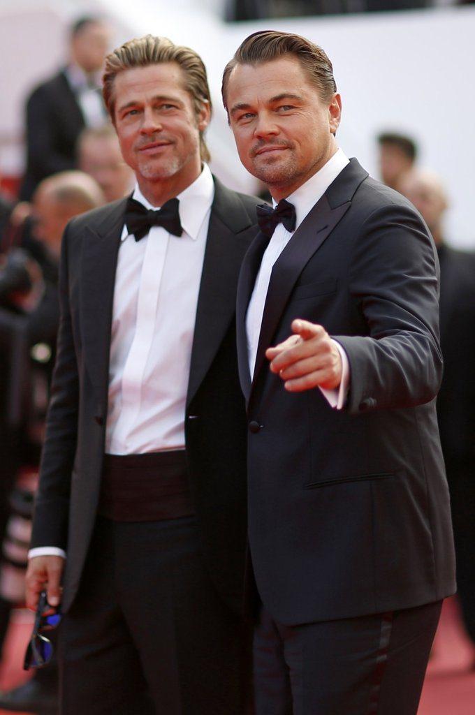 布萊德彼特與李奧納多狄卡皮歐在坎城影展上已經是一副哥倆好的樣子。圖/路透資料照片