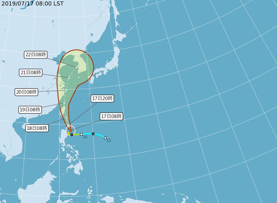 颱風丹娜絲路徑潛勢圖。圖/取自氣象局網站