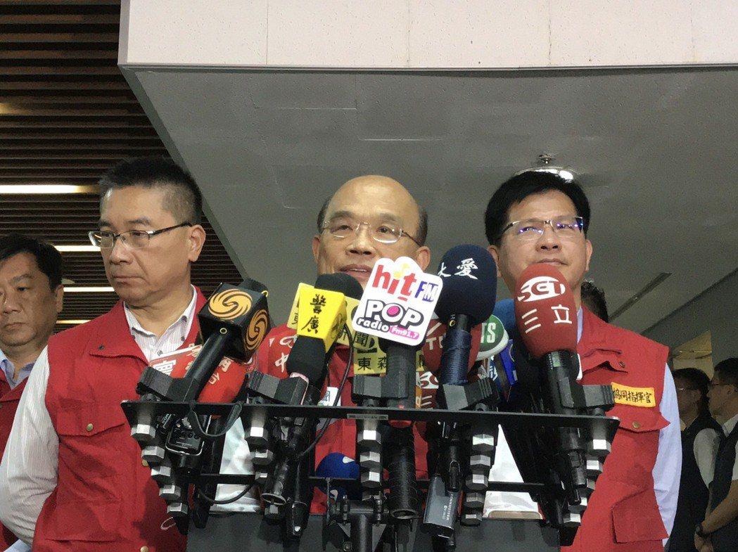 行政院長蘇貞昌今日上午10時前往視察輕颱丹娜絲中央災害應變中心。記者柯毓庭/攝影