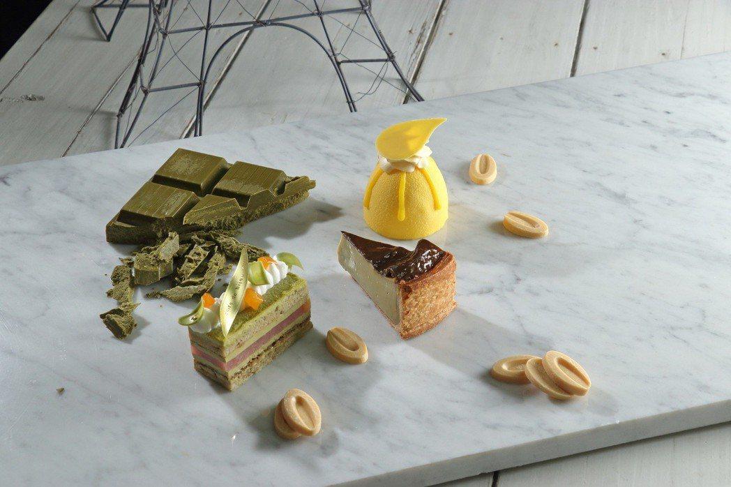 北部法蘭斯大島區的甜點運用的食材比較新穎,技術性也較高,左起珂萃(融合茶葉與巧克...