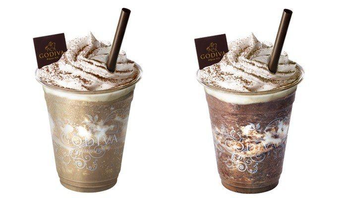 焙茶白巧克力凍飲(左)、錫蘭茶72%黑巧克力凍飲(右)售價200元。圖/GODIVA提供