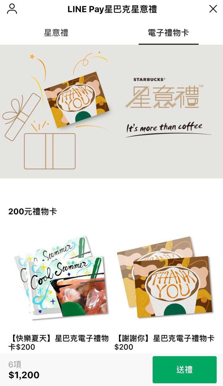 LINE Pay星巴克星意禮同步推出全新「LINE Pay星巴克電子禮物卡」,轉...
