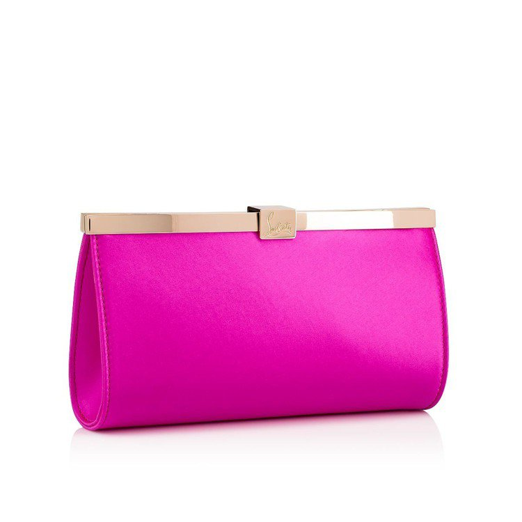 Palmette緞面桃紅色手拿包,售價41,000元。圖/Christian L...